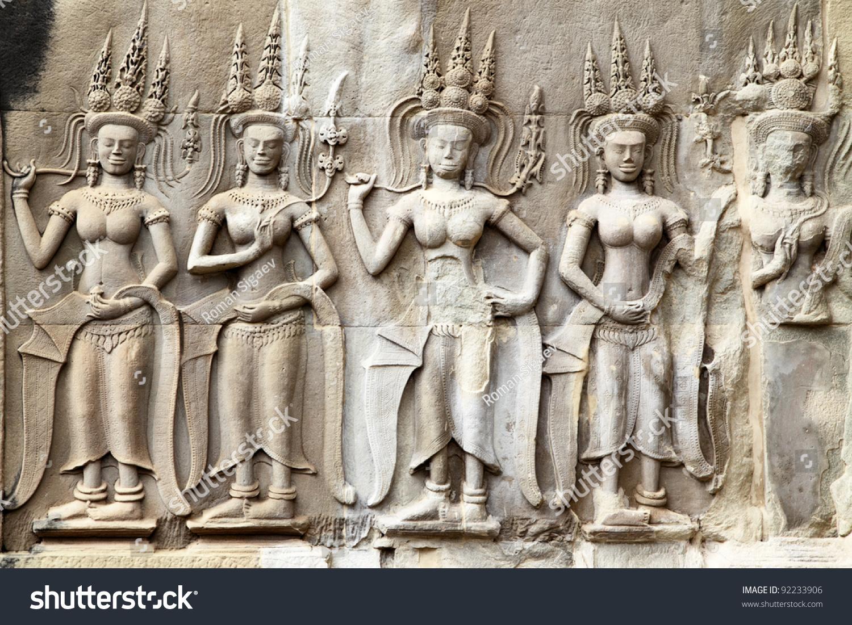 Apsaras khmer stone carving in angkor wat cambodia