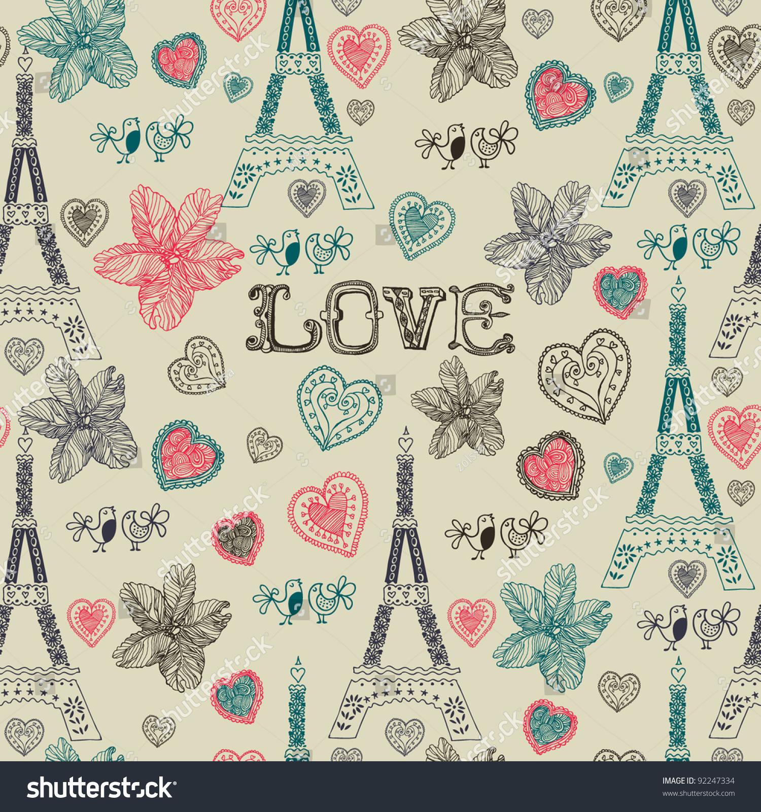 Love In Paris Seamless Pattern