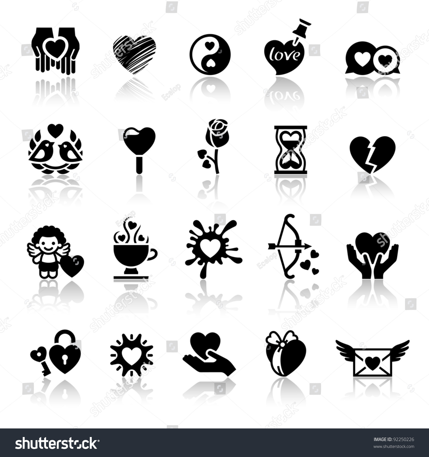 stock vector set valentine s day icons love romantic symbols 92250226