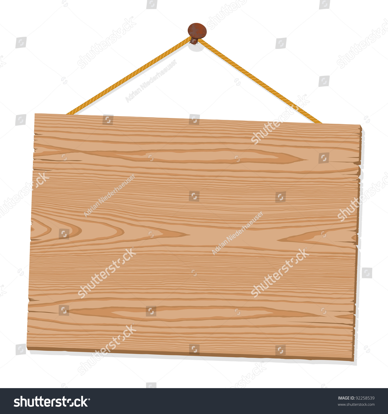 Blank Wooden Sign Hanging Nail By Vectores En Stock 92258539 ...