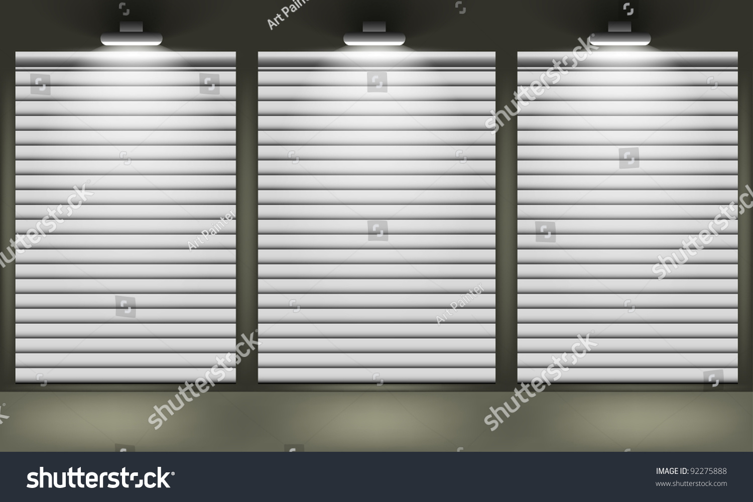 Shop Closed Shutters Windows Front View Stock Vector 92275888 Shutterstock