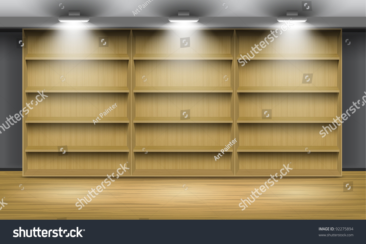 Interior wooden shelves free vector - Empty Wooden Shelves Illuminated By Searchlights Part Of Set Vector Interior