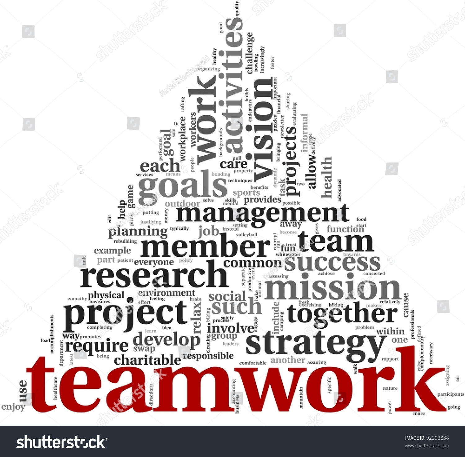 teamwork and strategy concept in word tag cloud on white save to a lightbox