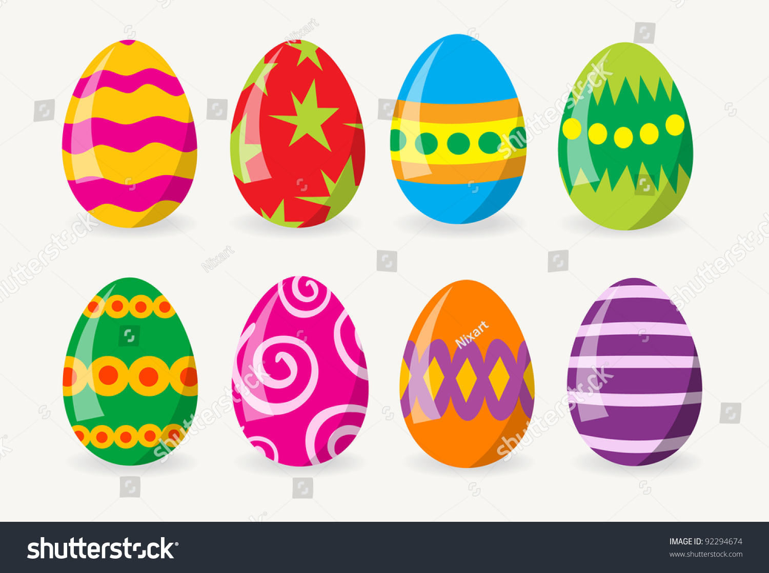 colorful easter eggs stock vector 92294674 shutterstock