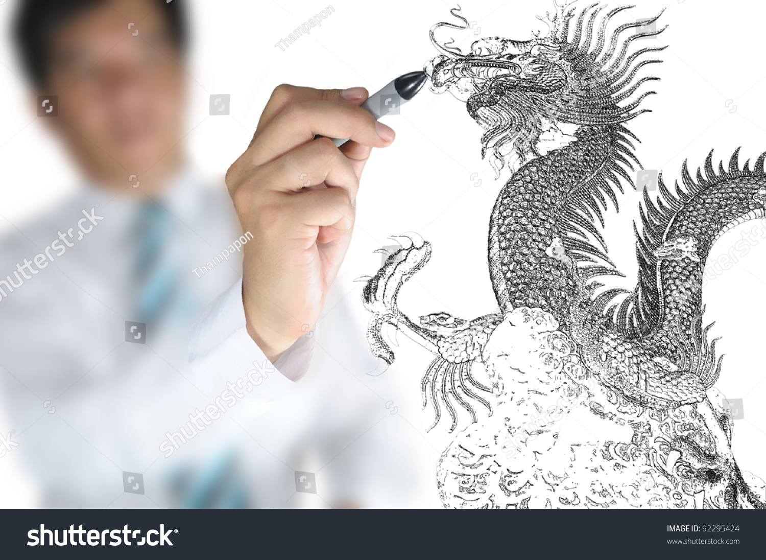 Business man draw chinese dragon stock photo 92295424 shutterstock business man draw chinese dragon ccuart Images