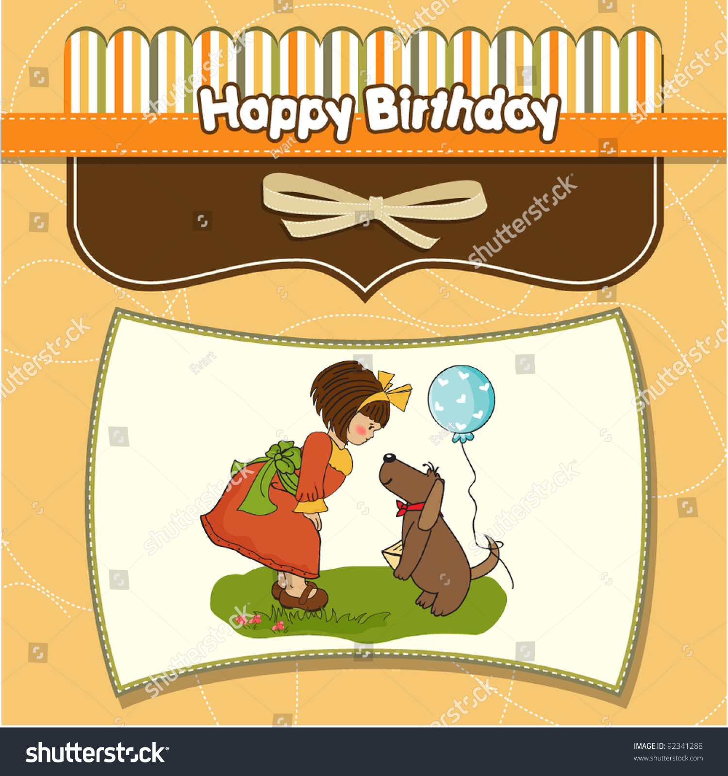 Young Girl Her Dog Wonderful Birthday Stock Vector Royalty Free