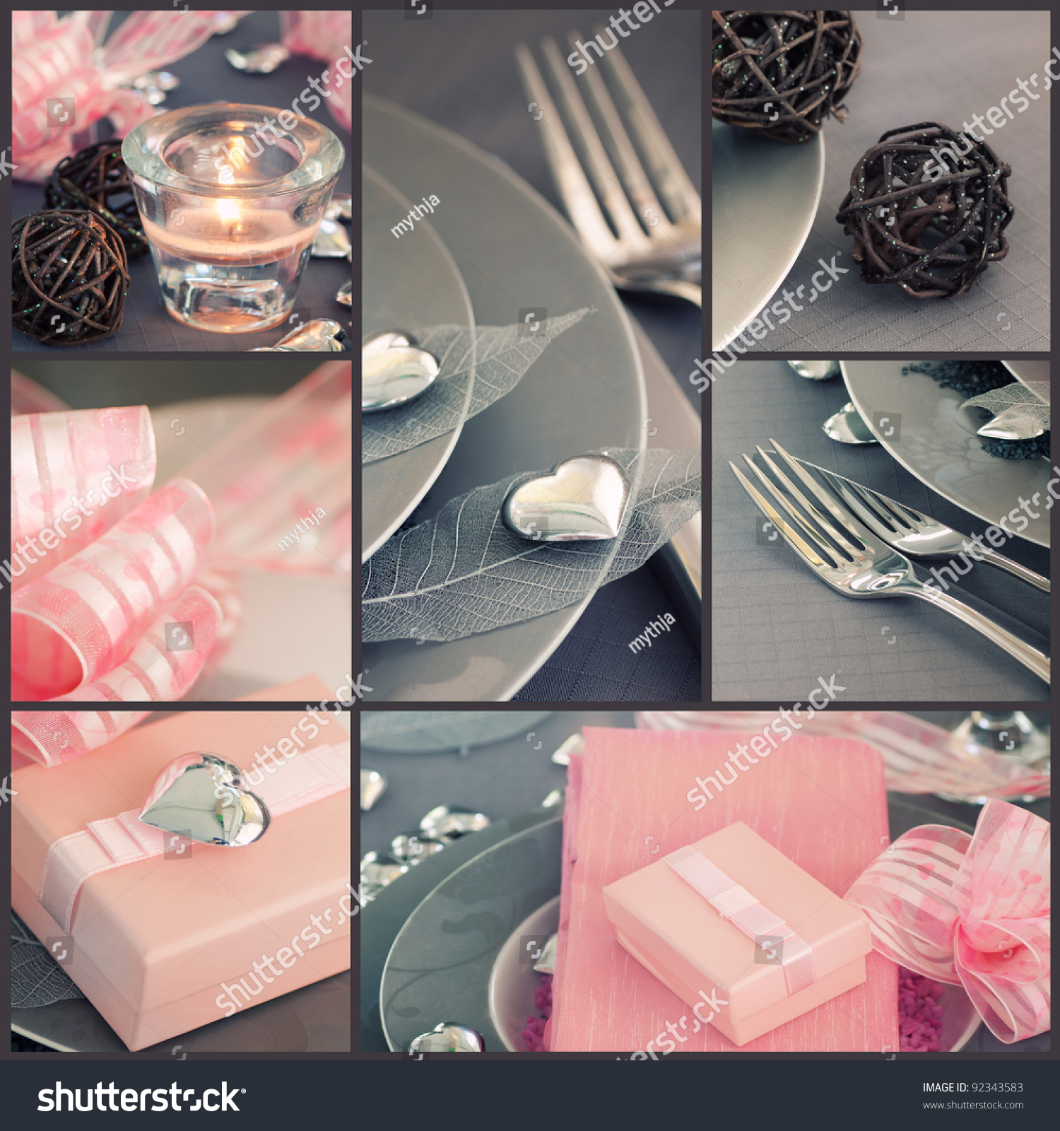 Fancy restaurant table setting - Restaurant Series Collage Of Fancy Valentine S Day Dinner Holiday Luxury Table Setting With Beautiful