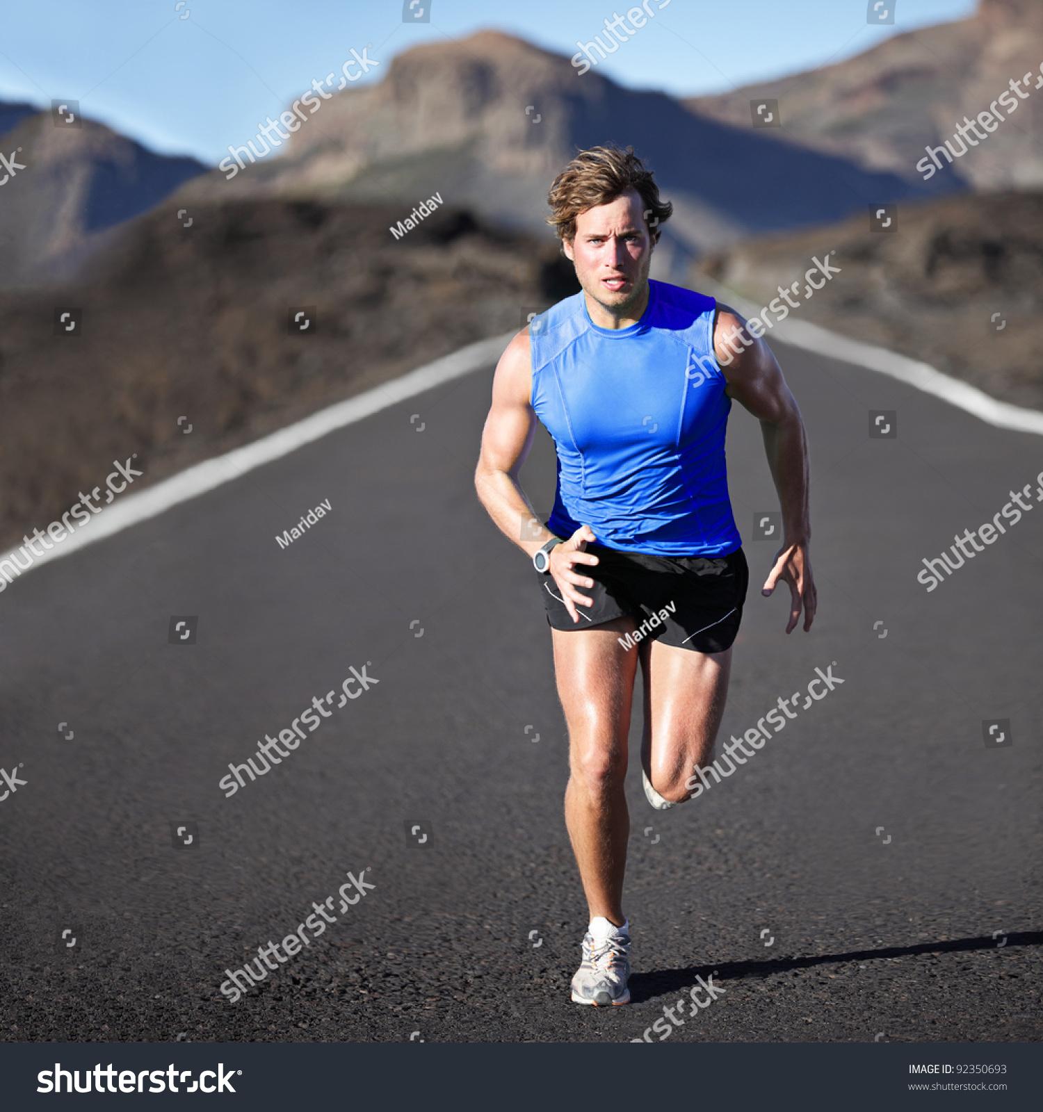 Sport Man Running Runner Sprinting Training Stock Photo