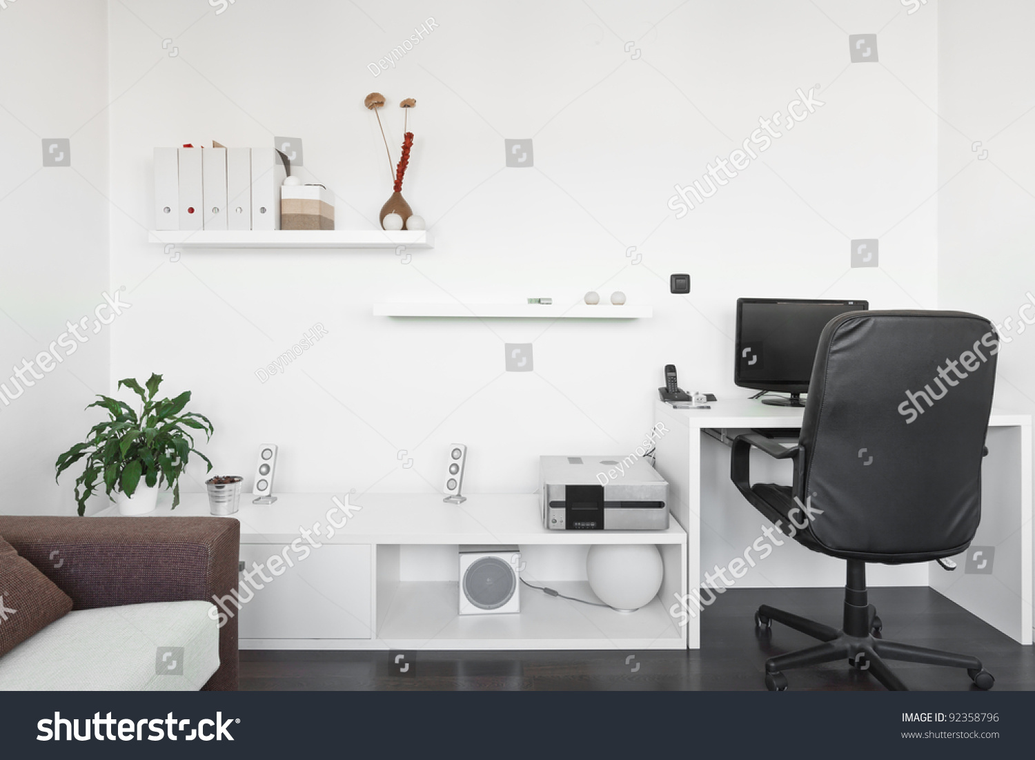 Modern living room with computer desk and the screen sofa for Desk in living room ideas