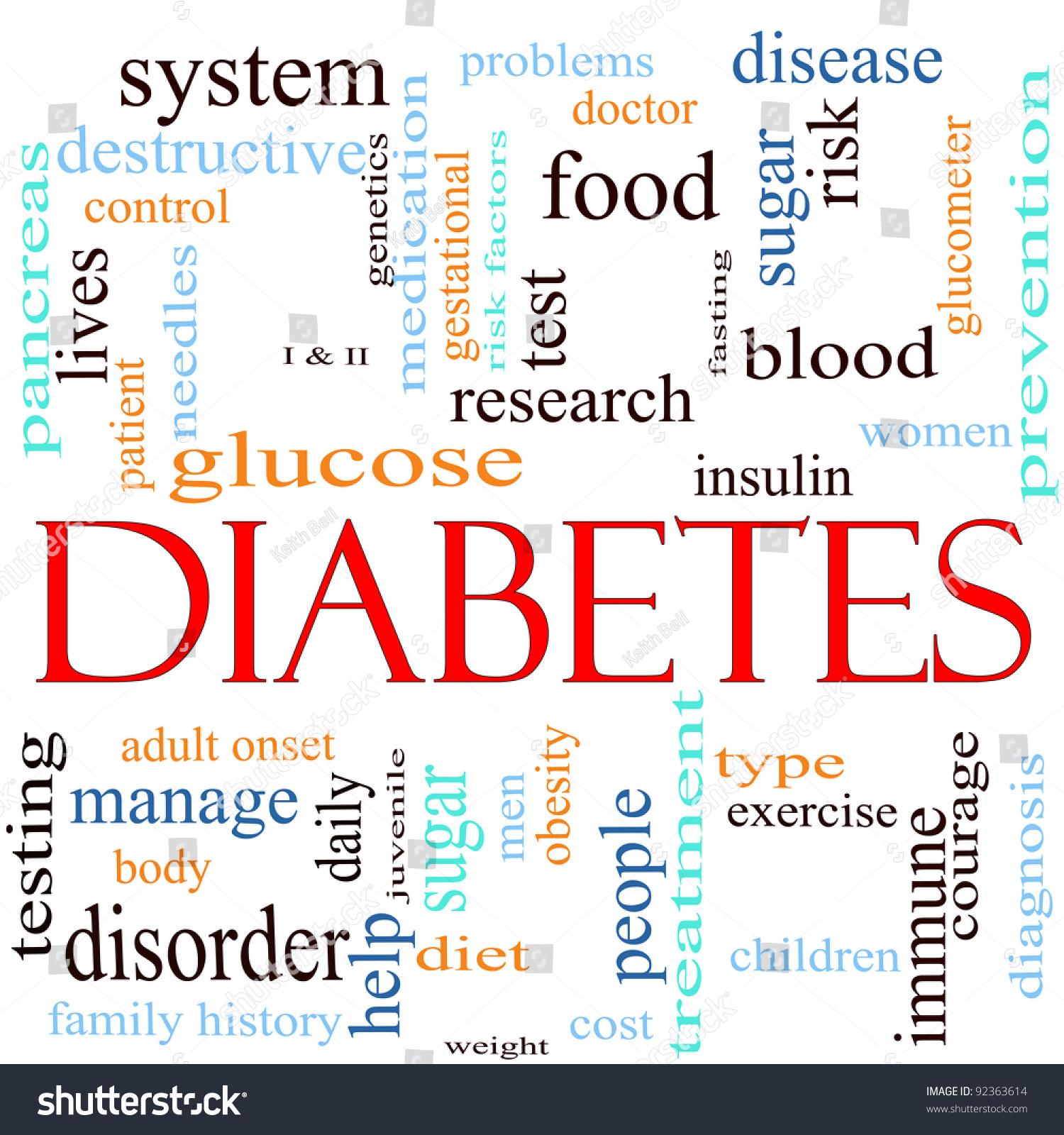 Word Cloud Concept Around Word Diabetes Stock Illustration