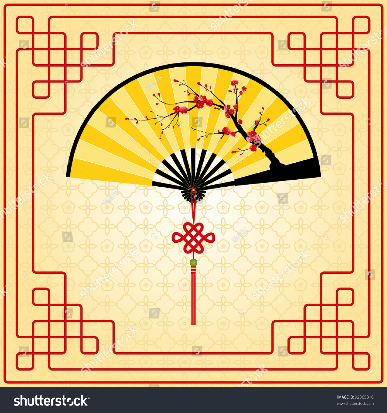 Oriental Style Painting Plum Blossom On Stock Vector 92365816 ...