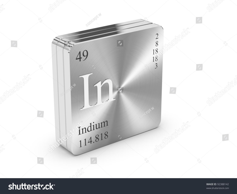 Indium element periodic table on metal stock illustration 92388142 indium element of the periodic table on metal steel block gamestrikefo Image collections