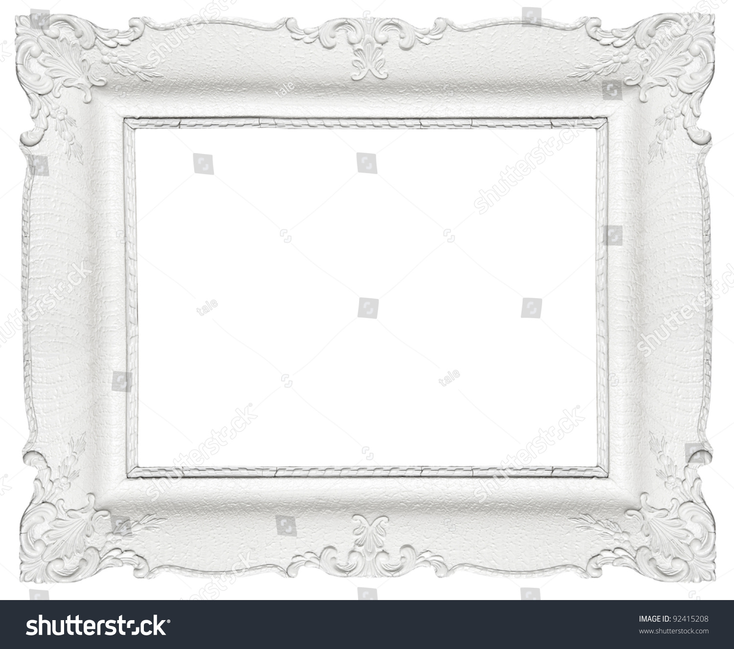 White Baroque Frame Isolated On White Stock Photo (Royalty Free ...