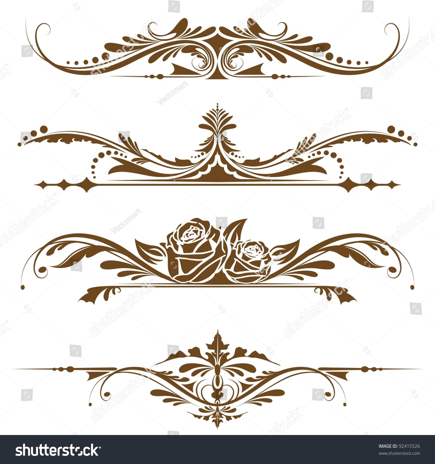 Illustration Set Vintage Design Elements Page Stock Vector