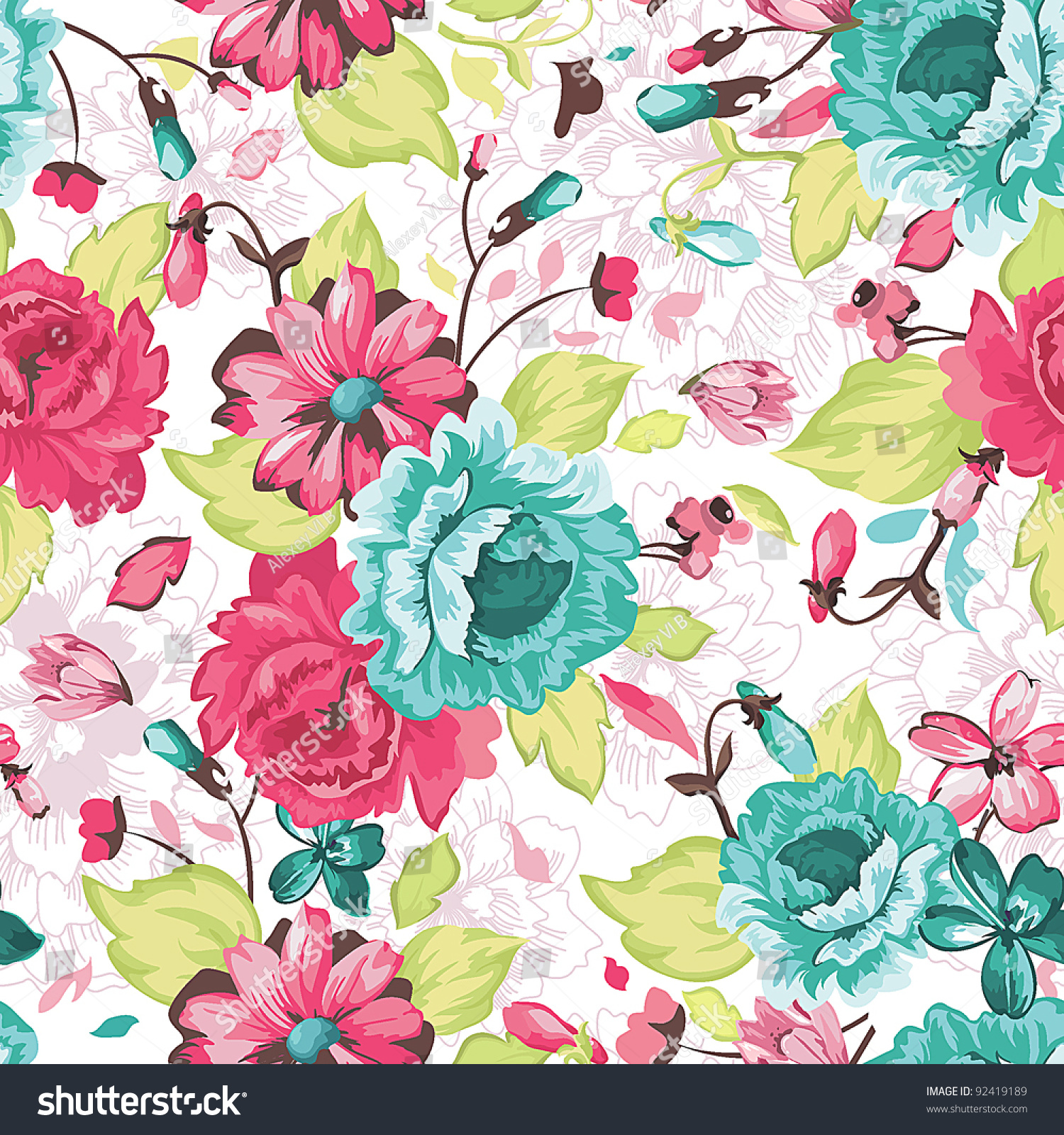 Abstract Elegance Seamless Pattern Floral Background Stock