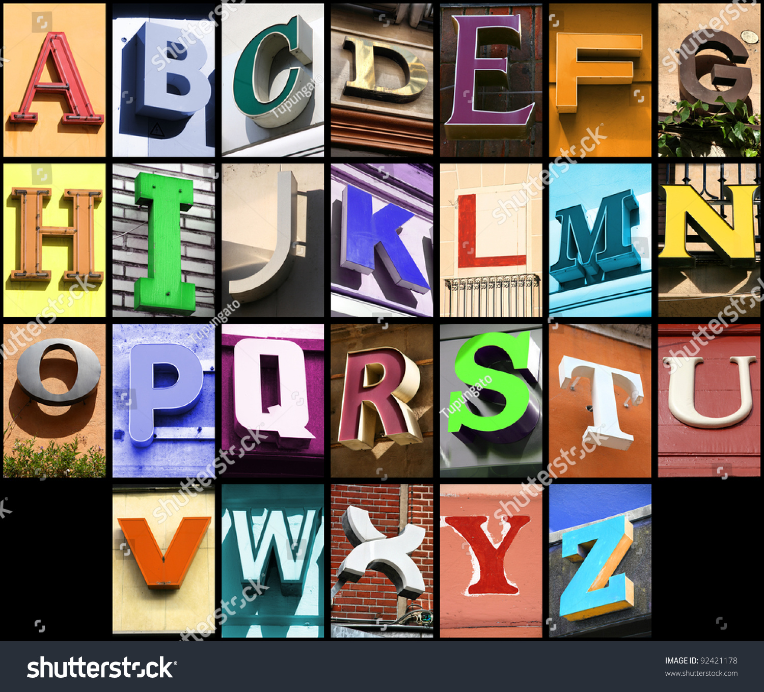 city abc alphabet collage colorful letters font from urban buildings