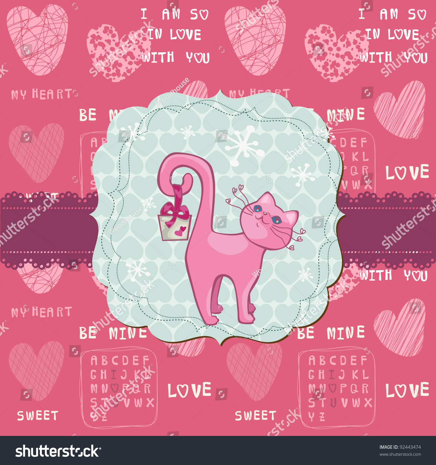Cute Love Card Cat Valentines Day Stock Vector Royalty Free