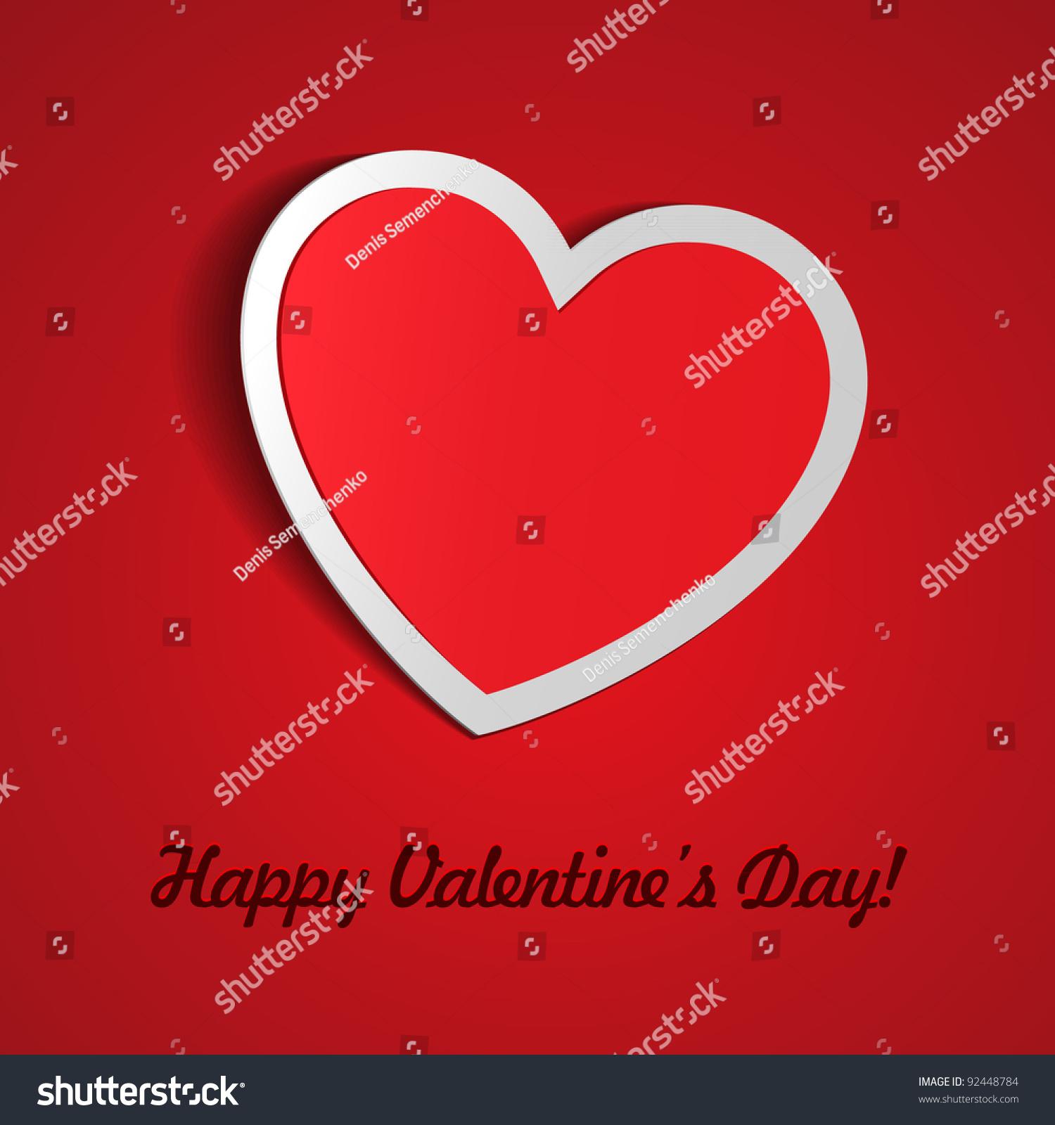 Red Heart Paper Sticker Shadow Valentines Stock-Vektorgrafik ...