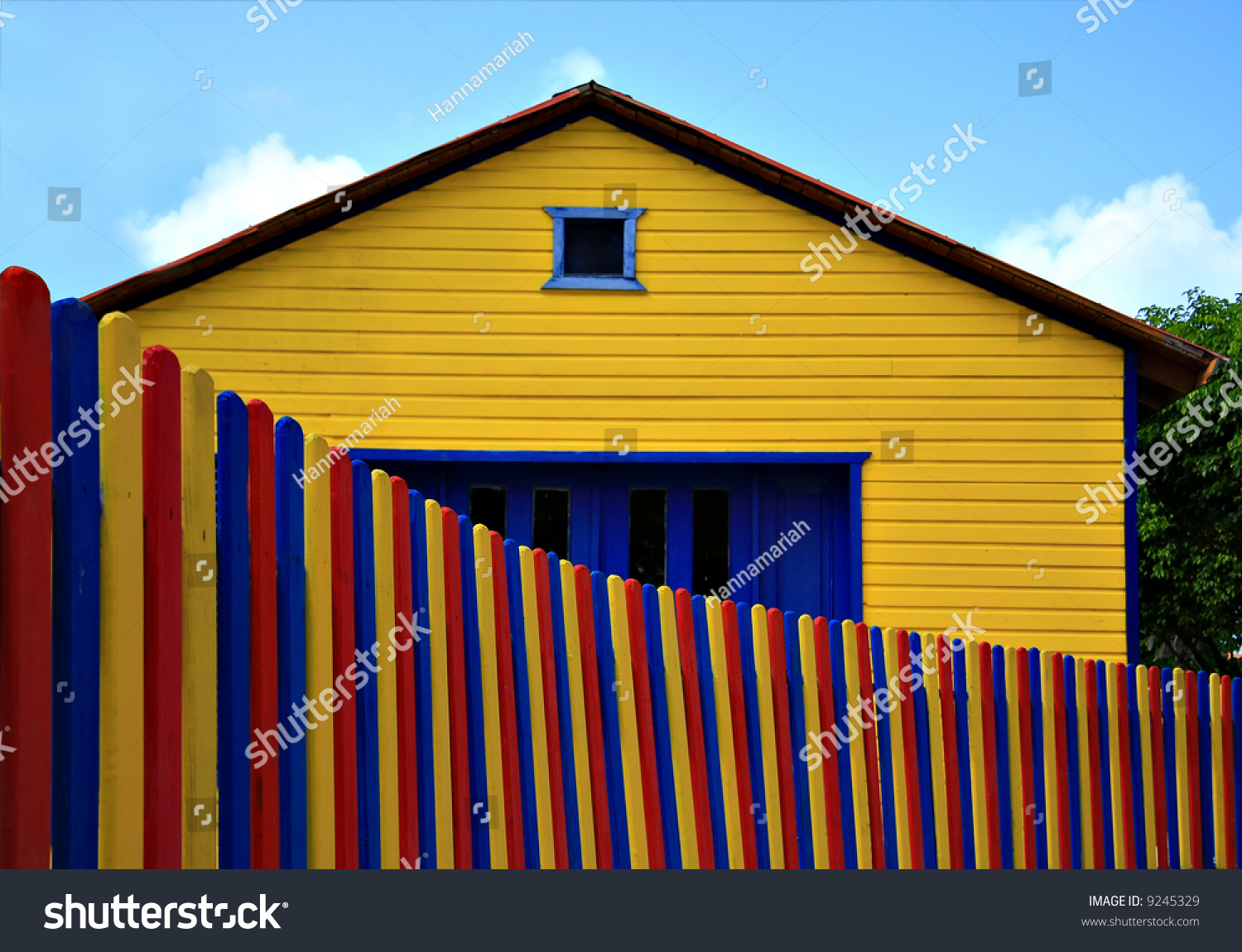 Colorful House colorful house picket fence stock photo 9245329 - shutterstock