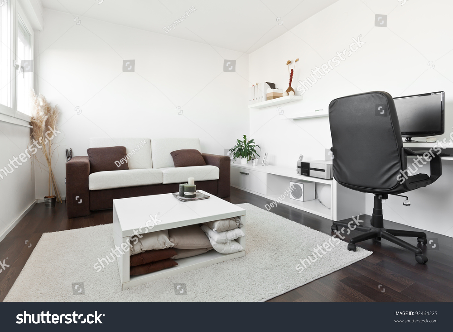 modern living room with computer desk and the screen sofa and table