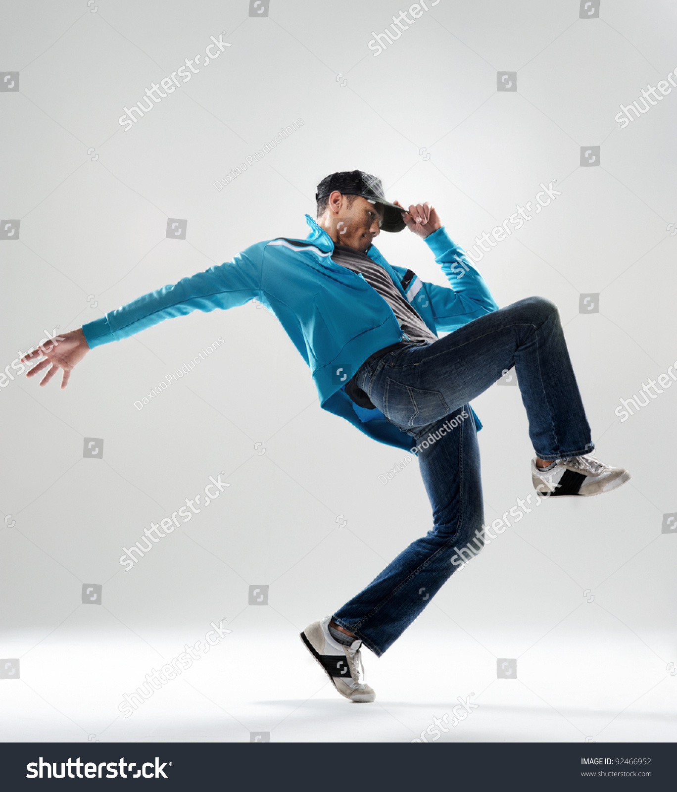 Modern Hip Hop Dancer Lifts His Leg And Does Some Moves ...
