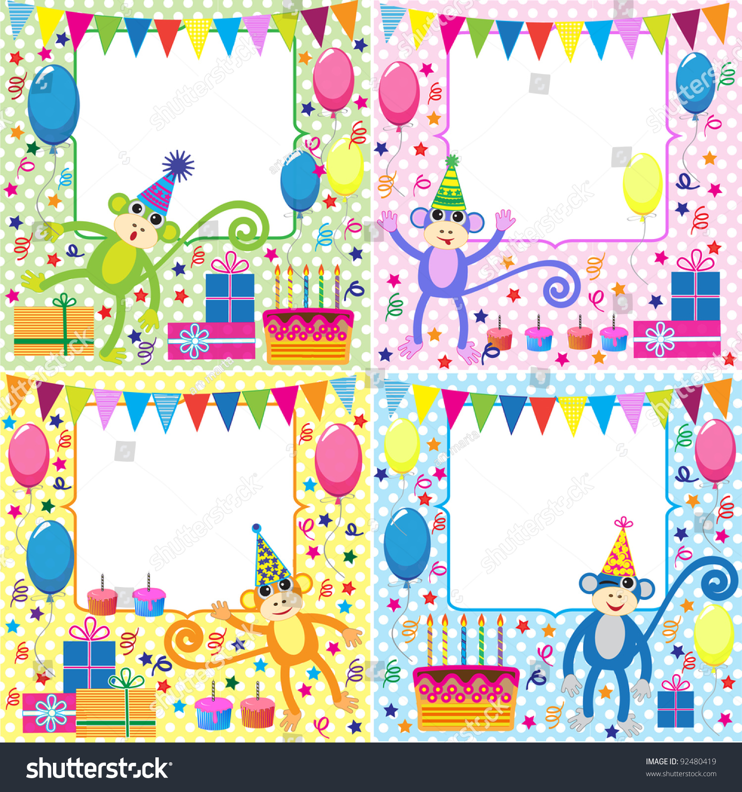 Vector Set Birthday Cards Funny Monkeys Vector 92480419 – Set of Birthday Cards