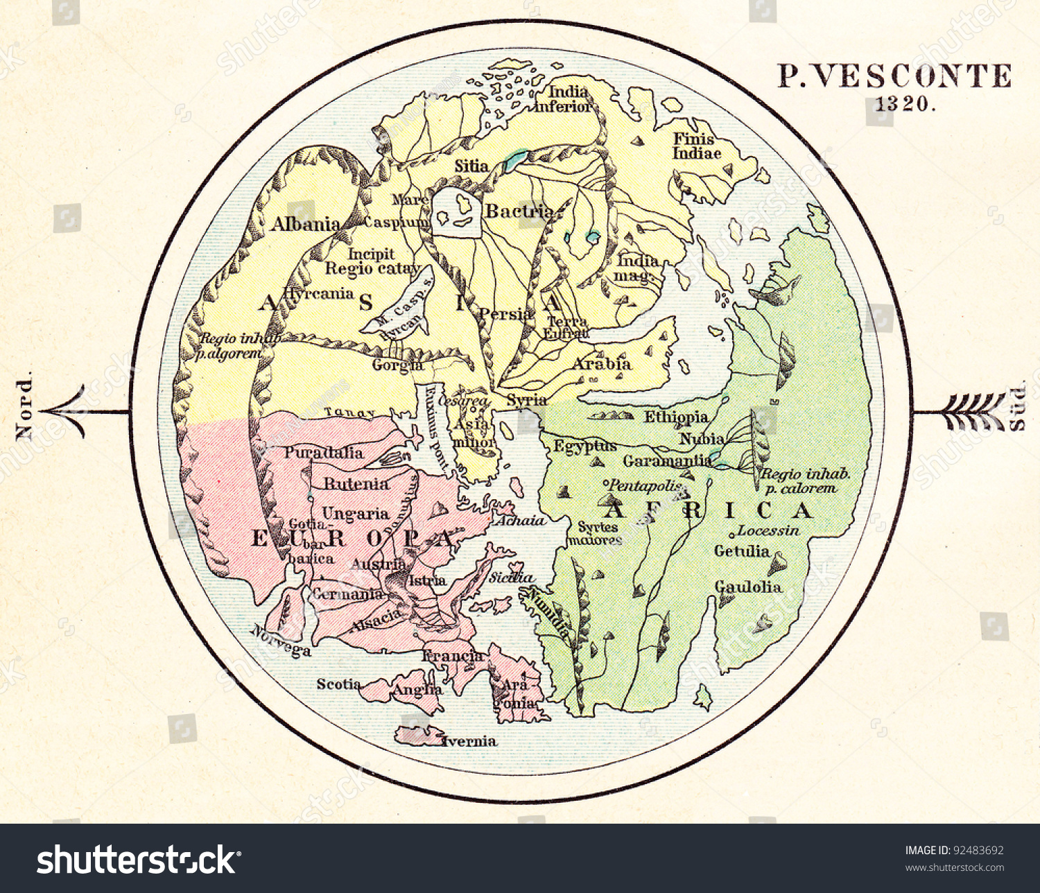 Old world map 1320 vintage illustration stock illustration 92483692 old world map 1320 vintage illustration from meyers konversations lexikon published in gumiabroncs Image collections
