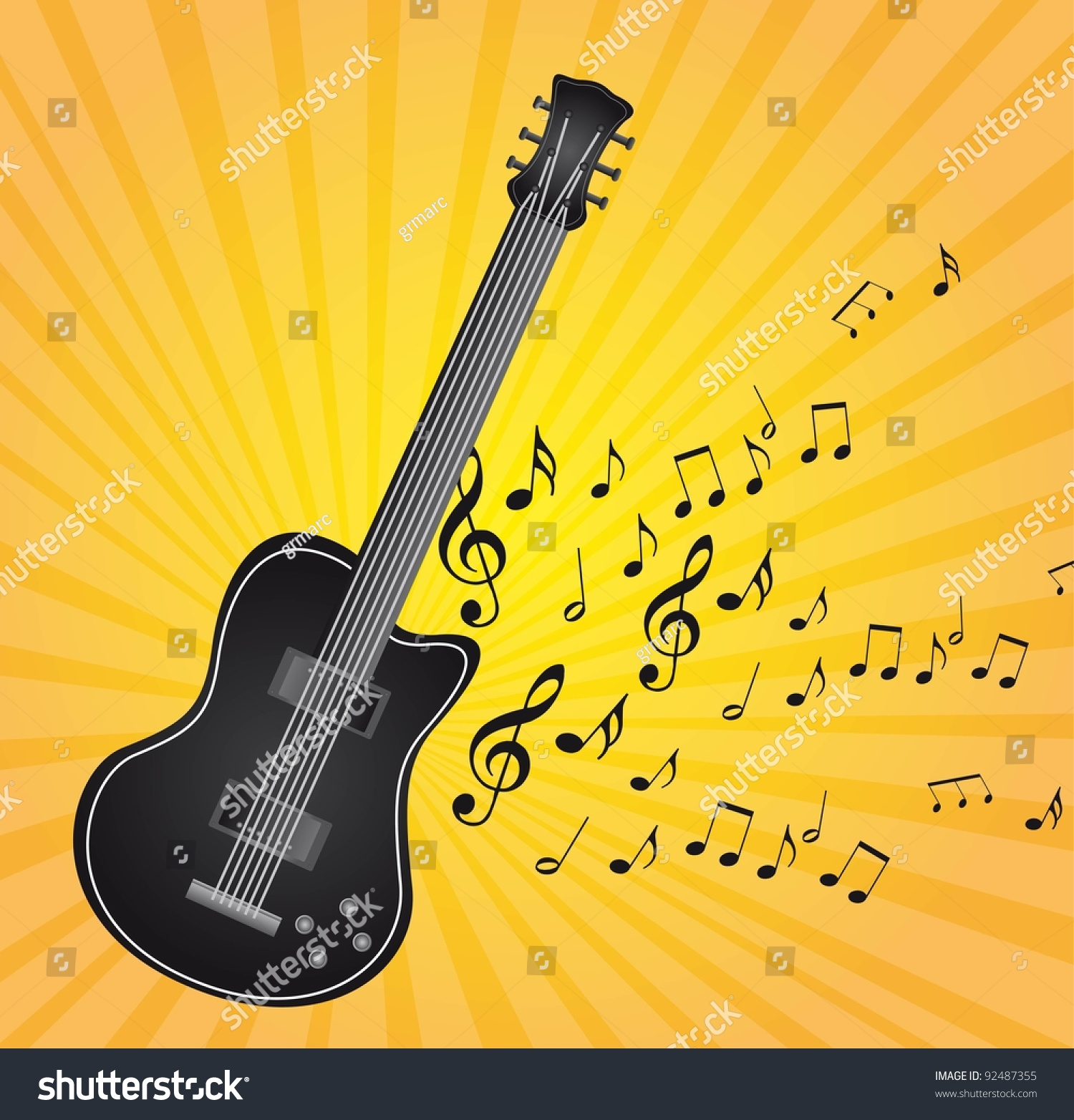 black guitar music notes over yellow stock vector 92487355