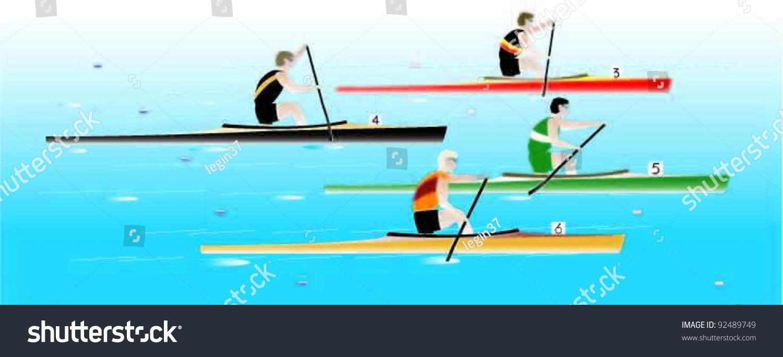 Canoe Racing C1 Stock Vector (Royalty Free) 92489749