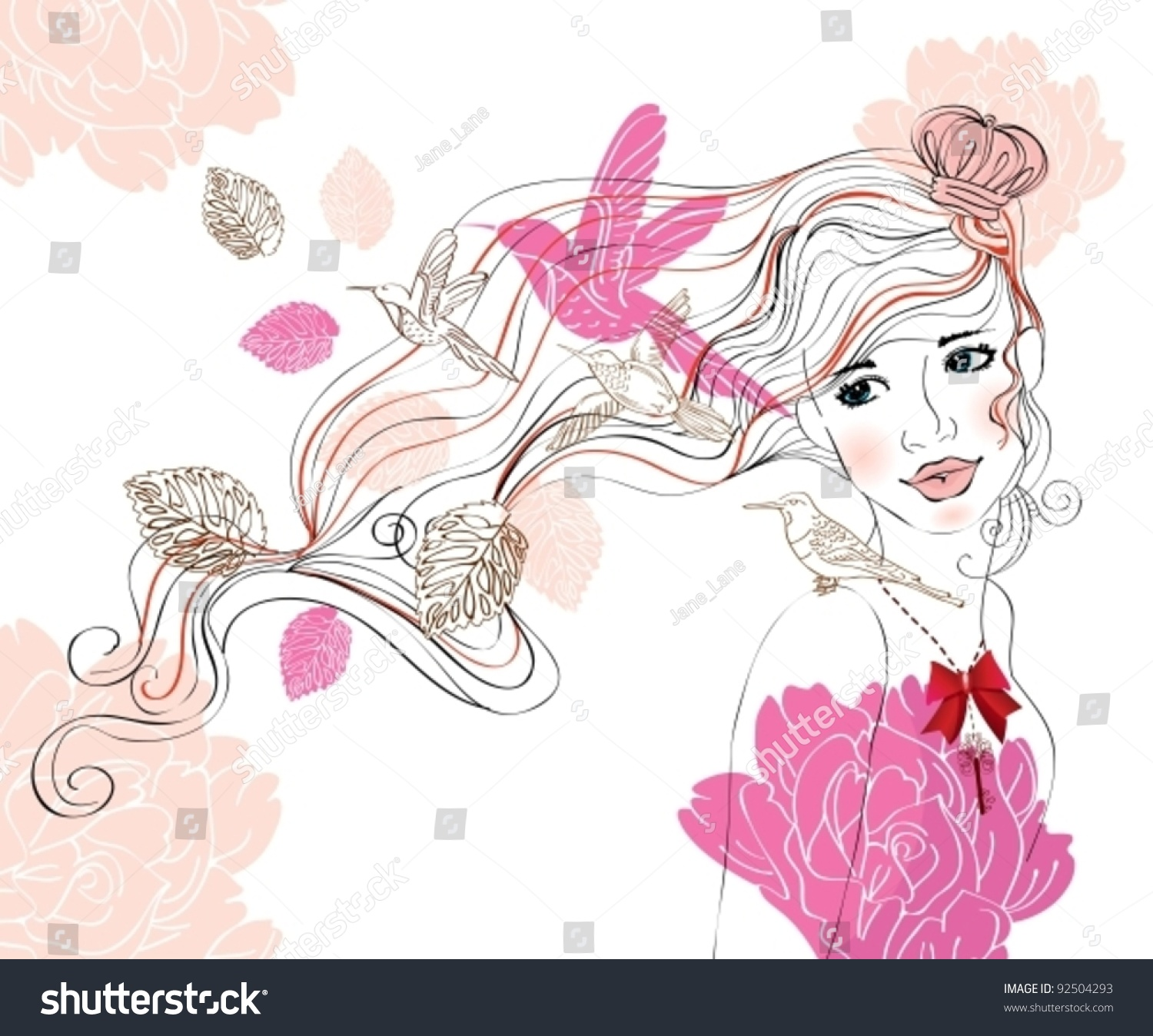 Beautiful Hand Drawing Background Girl Flowers Stock Vector