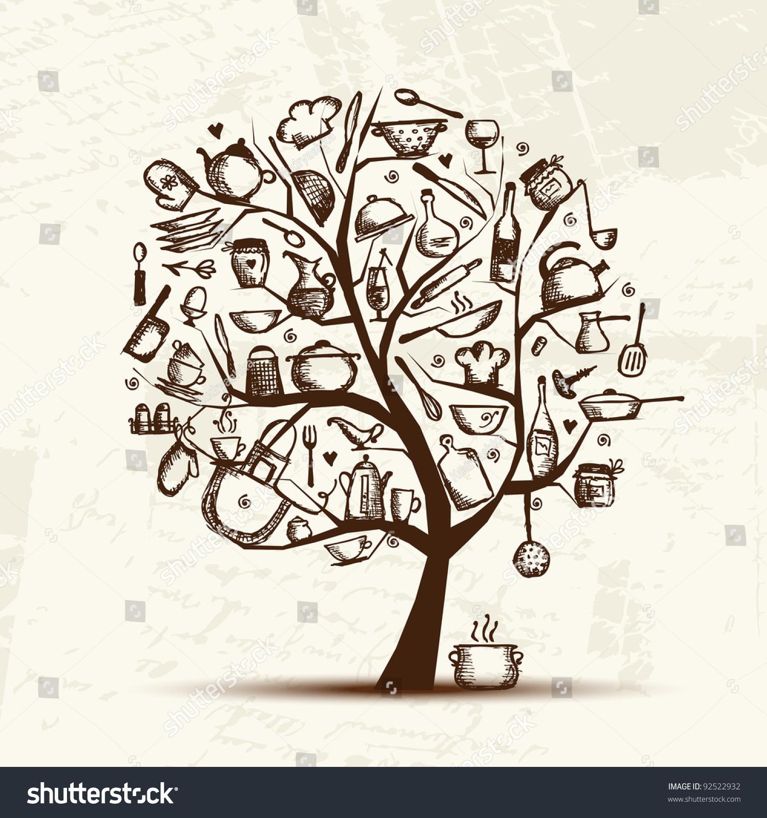 Kitchen Utensils Art art tree kitchen utensils sketch drawing stock vector 92522932