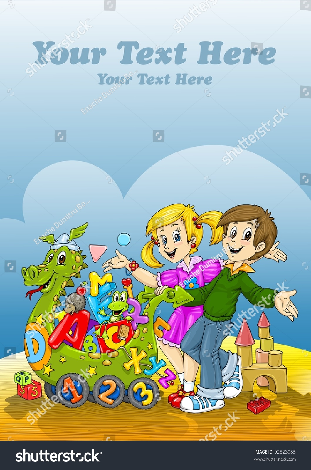 Kids Book Cover Background : Happy kids toys world book cover stock illustration