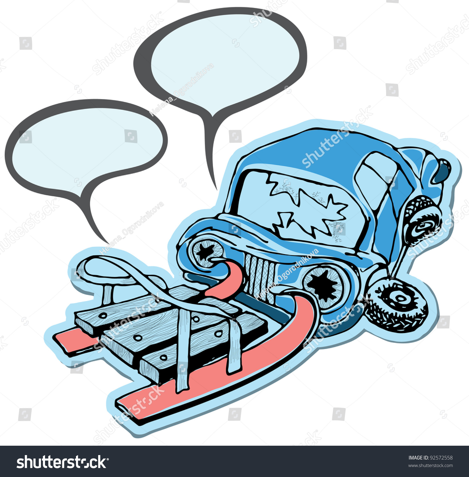 Accident On Road Sled Machine Stock Vector 92572558 - Shutterstock