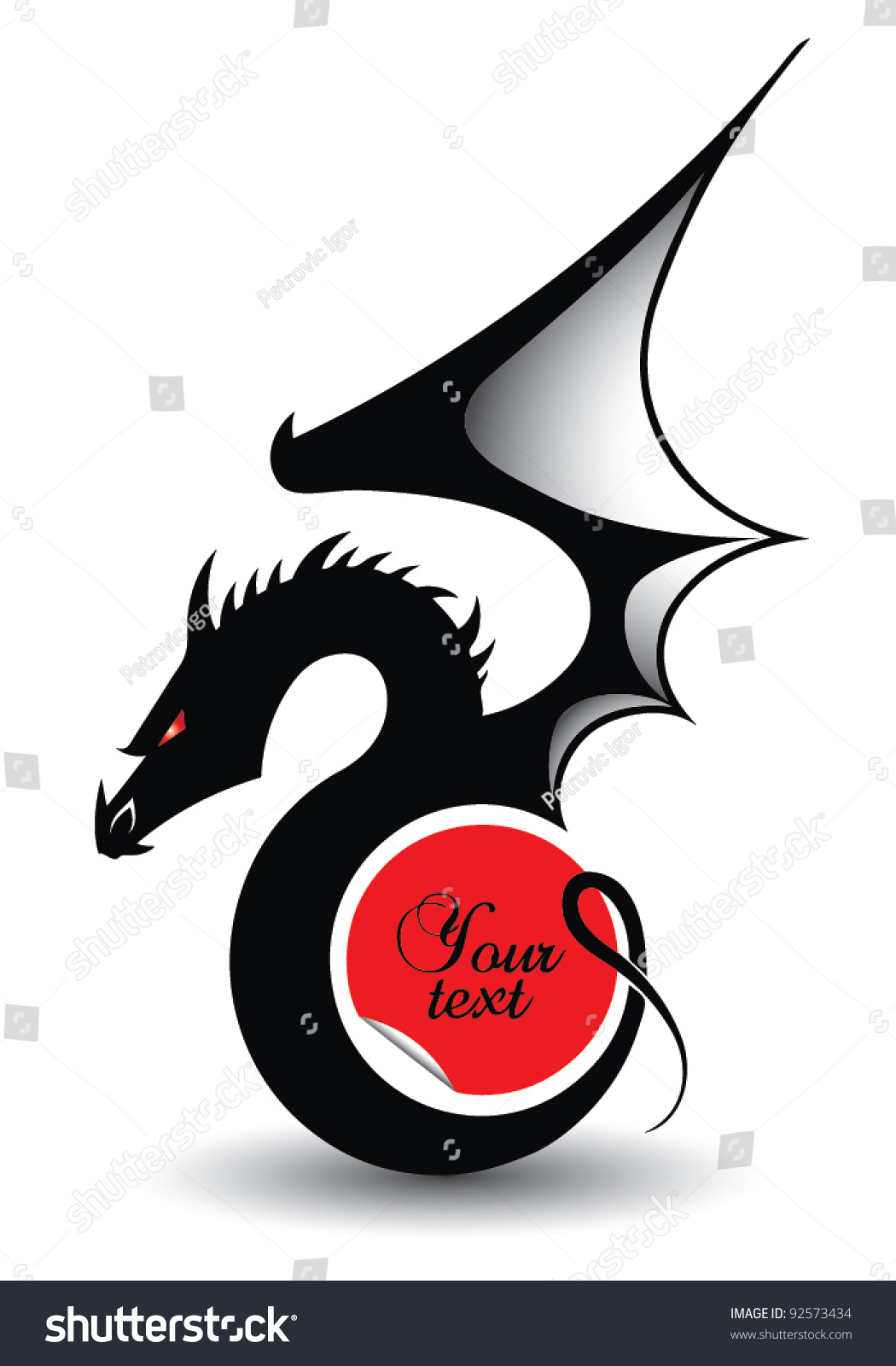 Dragon Symbol 2012 Year Text Place Stock Vector Royalty Free