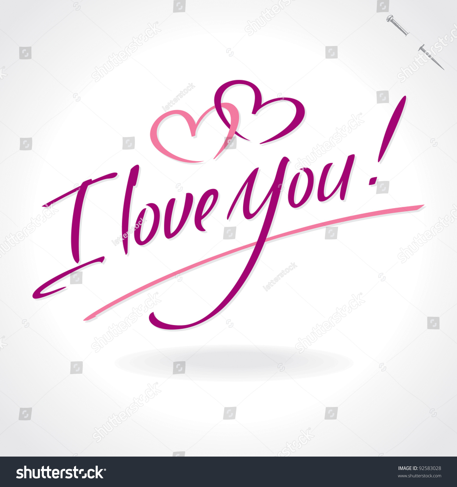 I love you hand lettering handmade stock vector 92583028 I love you calligraphy