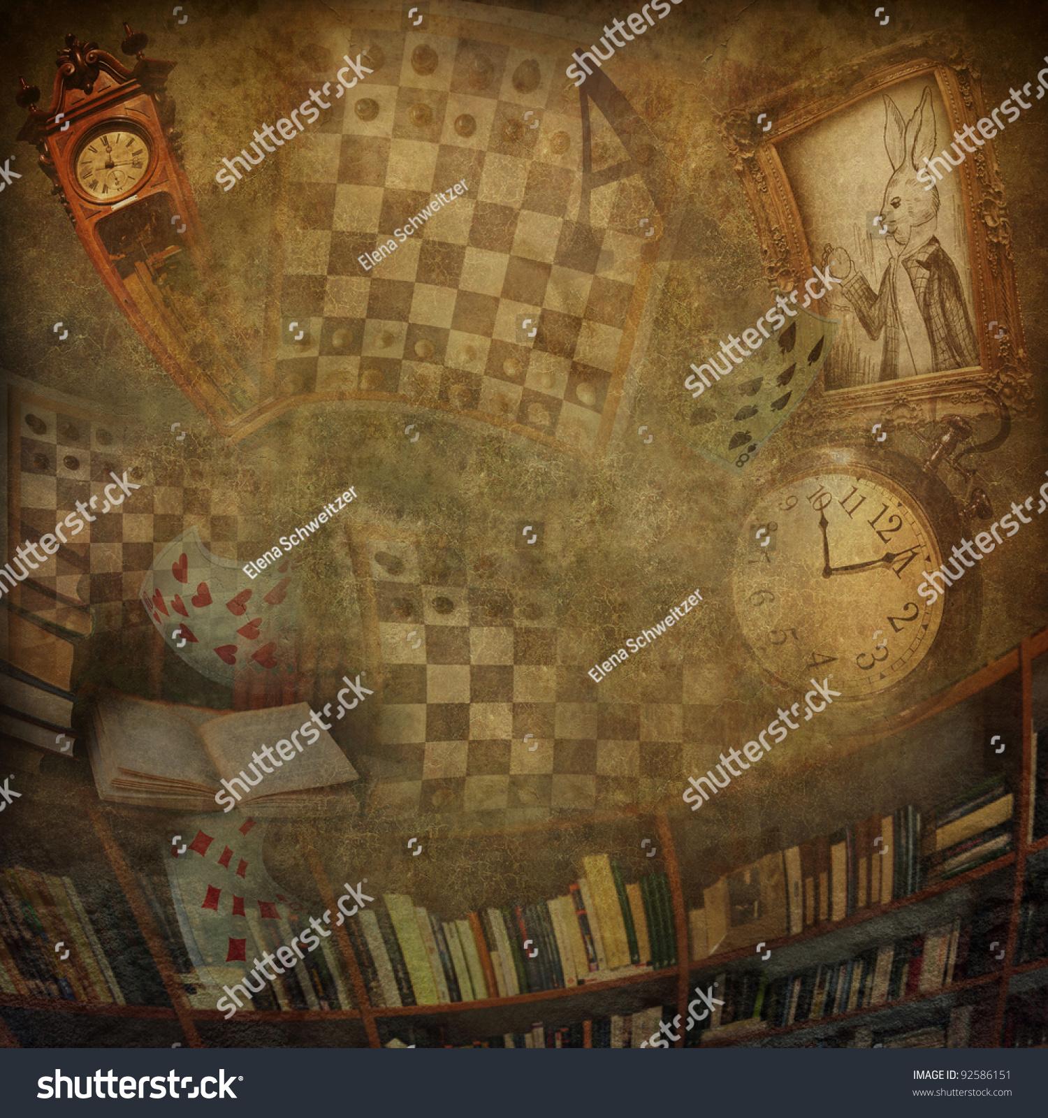 Abstract Background Novel Alice Wonderland Stock Photo