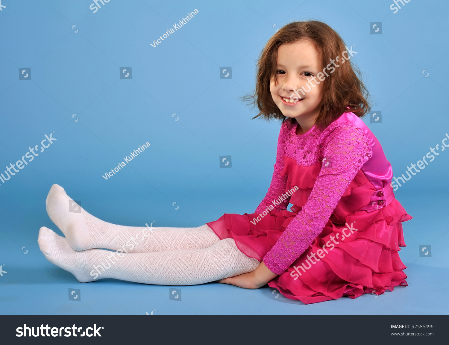Little Beautiful Posing Girl Purple Dress Stock Photo ...