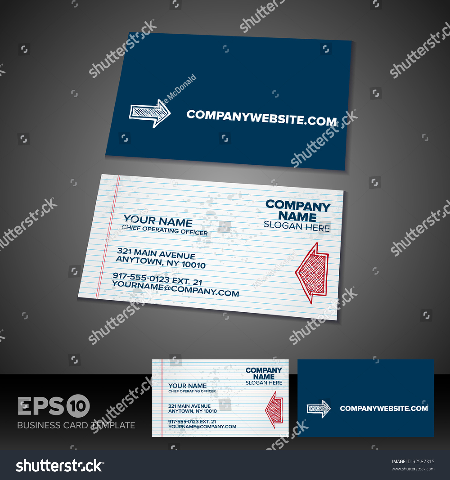 Notepad Paper Business Card Template Solid Stock Vector 92587315 ...