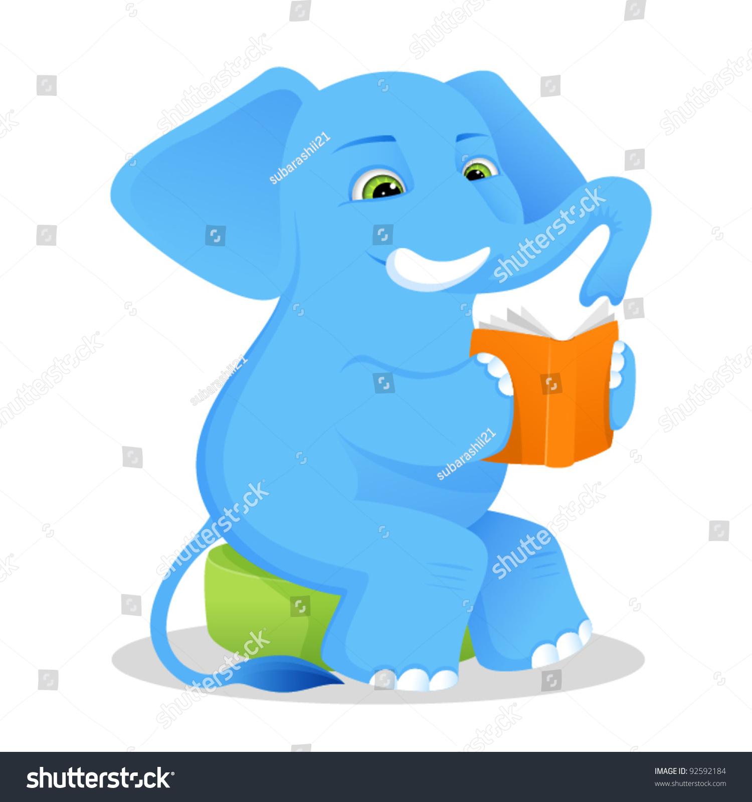 illustration children cute elephant studying book stock vector