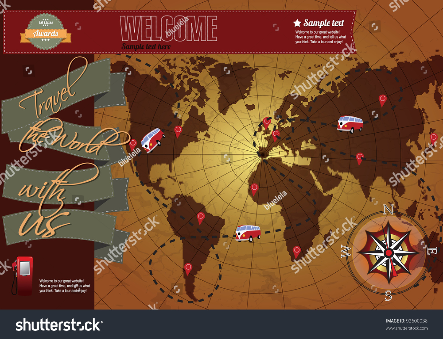 Website Template Elements World Map Compass Stock Photo Photo