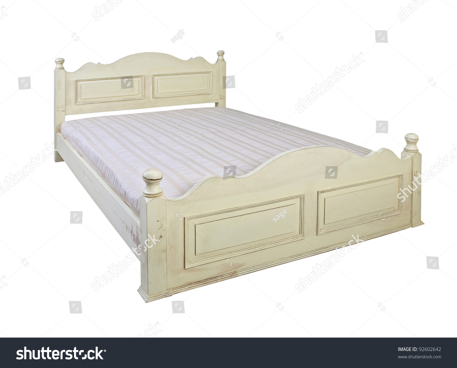 602f798d56e1e Vintage White Bed Isolated On White Stock Photo (Edit Now) 92602642 ...