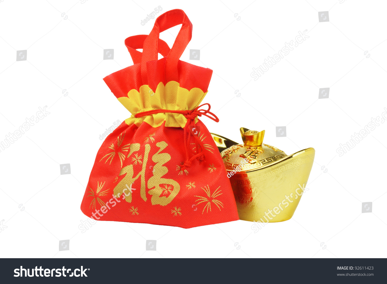 Chinese New Year Gift Bag Gold Stock Photo 92611423 Shutterstock