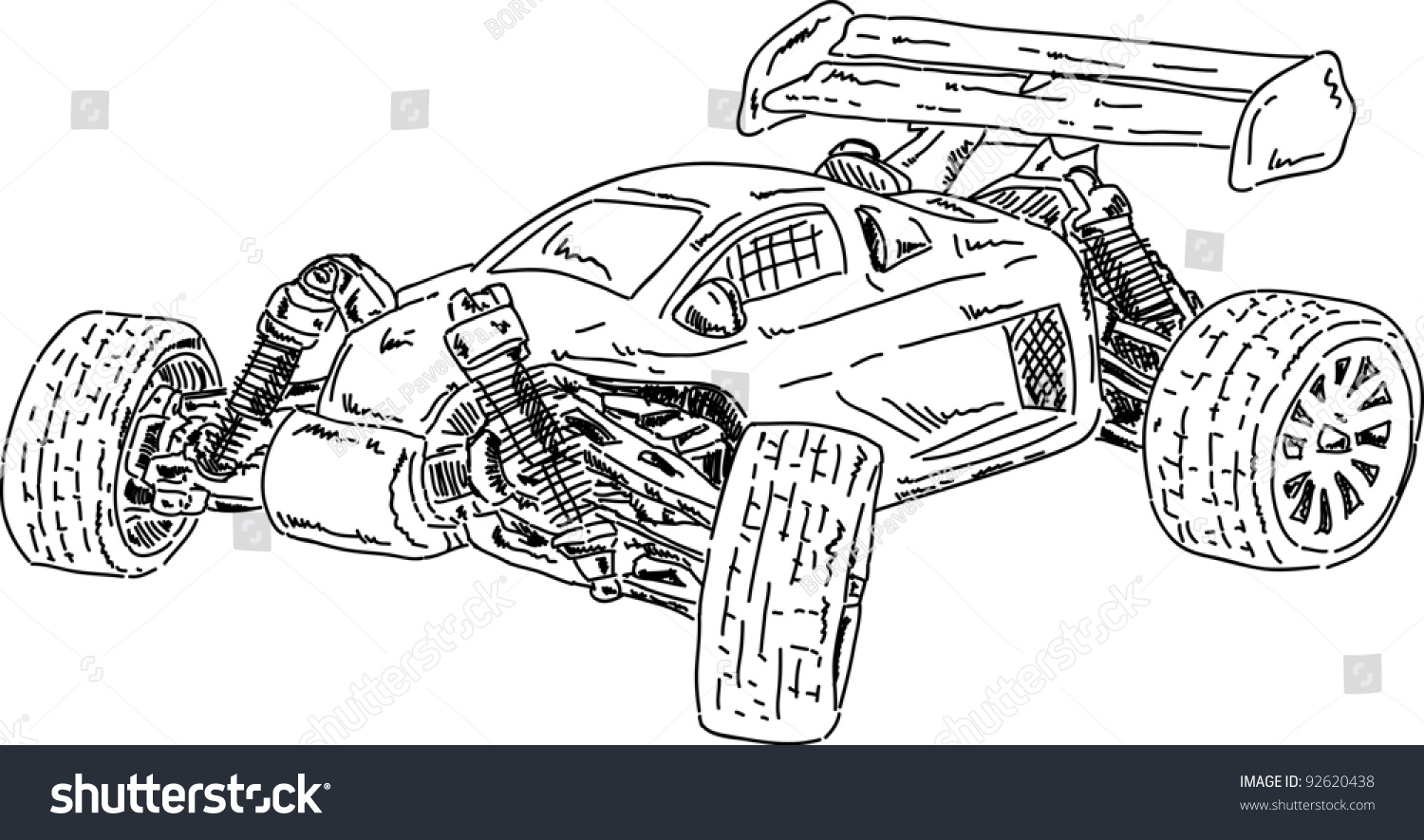 Vector Hand Draw RC Buggy Car Stock Vector 92620438 - Shutterstock