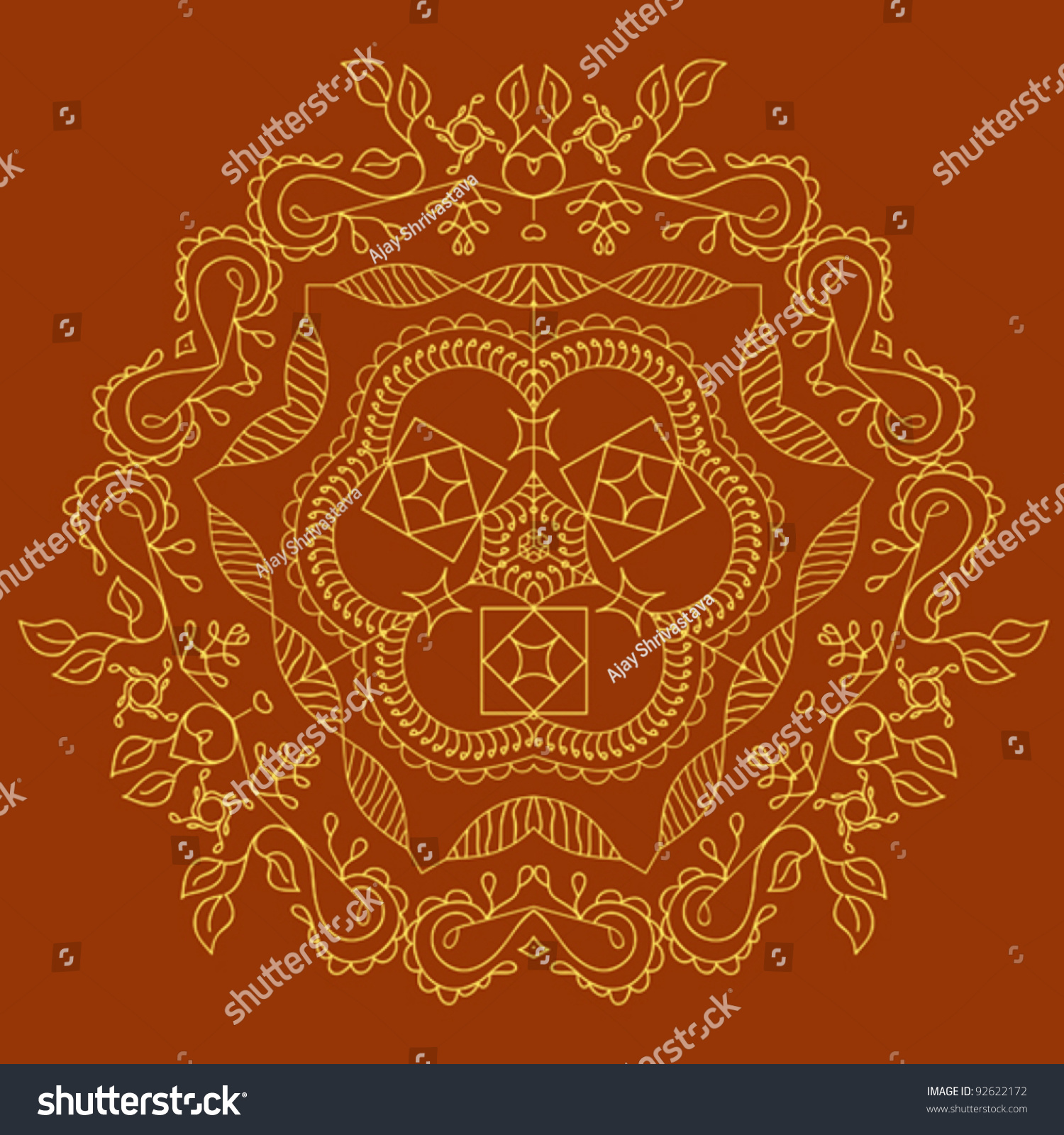 folk motif design wall painting stock vector 92622172 shutterstock. Black Bedroom Furniture Sets. Home Design Ideas