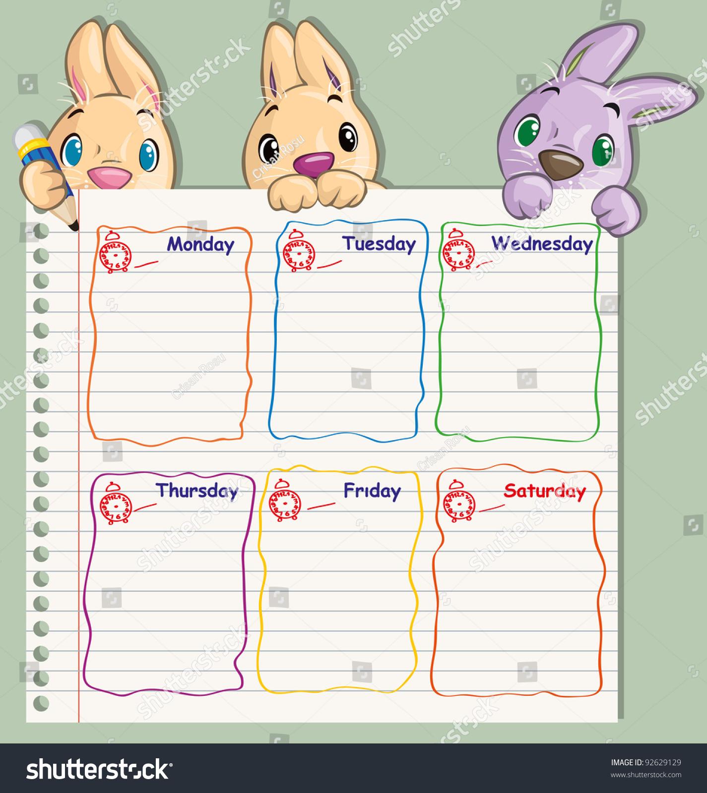Vector Illustration Cute School Schedule Card Stock Vector