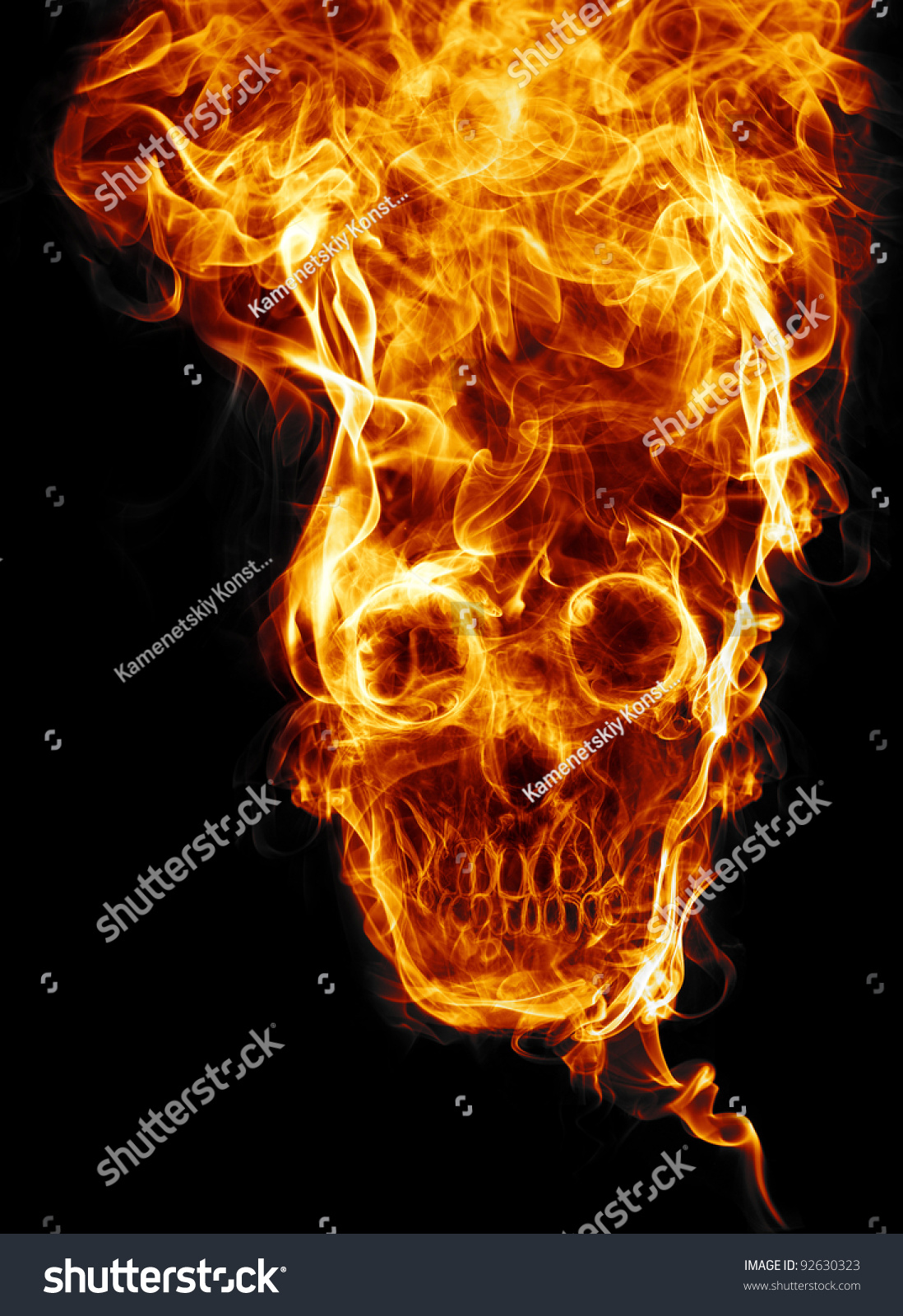 Skull Fire Fire Formed Skull Dead Stock Illustration 92630323 ...