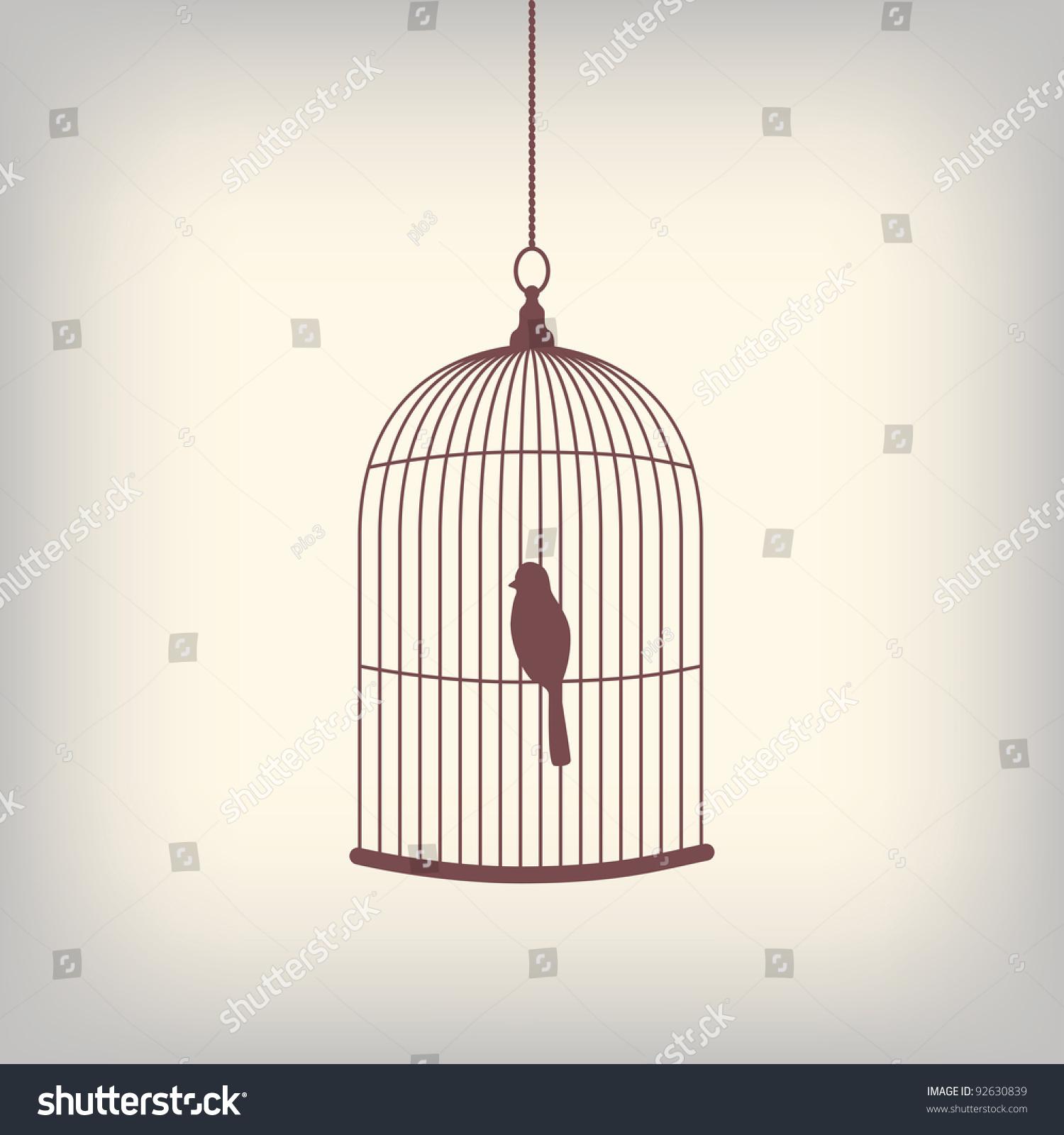 vintage bird cage single bird inside stock vector 92630839