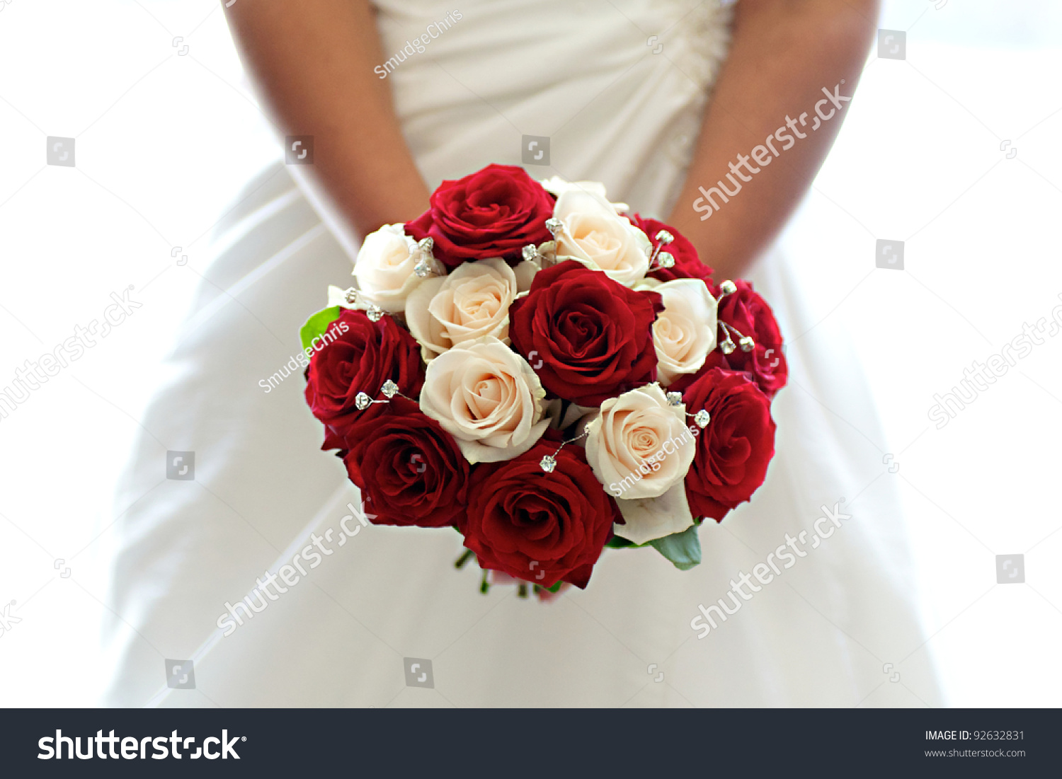 beautiful bouquet red white roses held stock photo