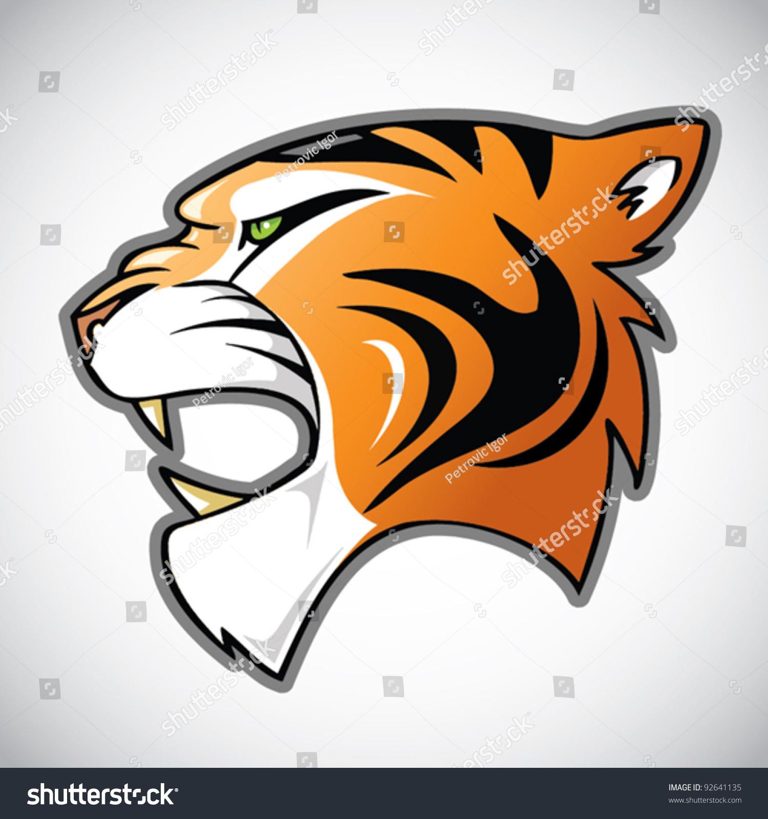 tiger head cartoon illustration stock vector 92641135 shutterstock rh shutterstock com cartoon tiger head drawing cartoon tiger head drawing