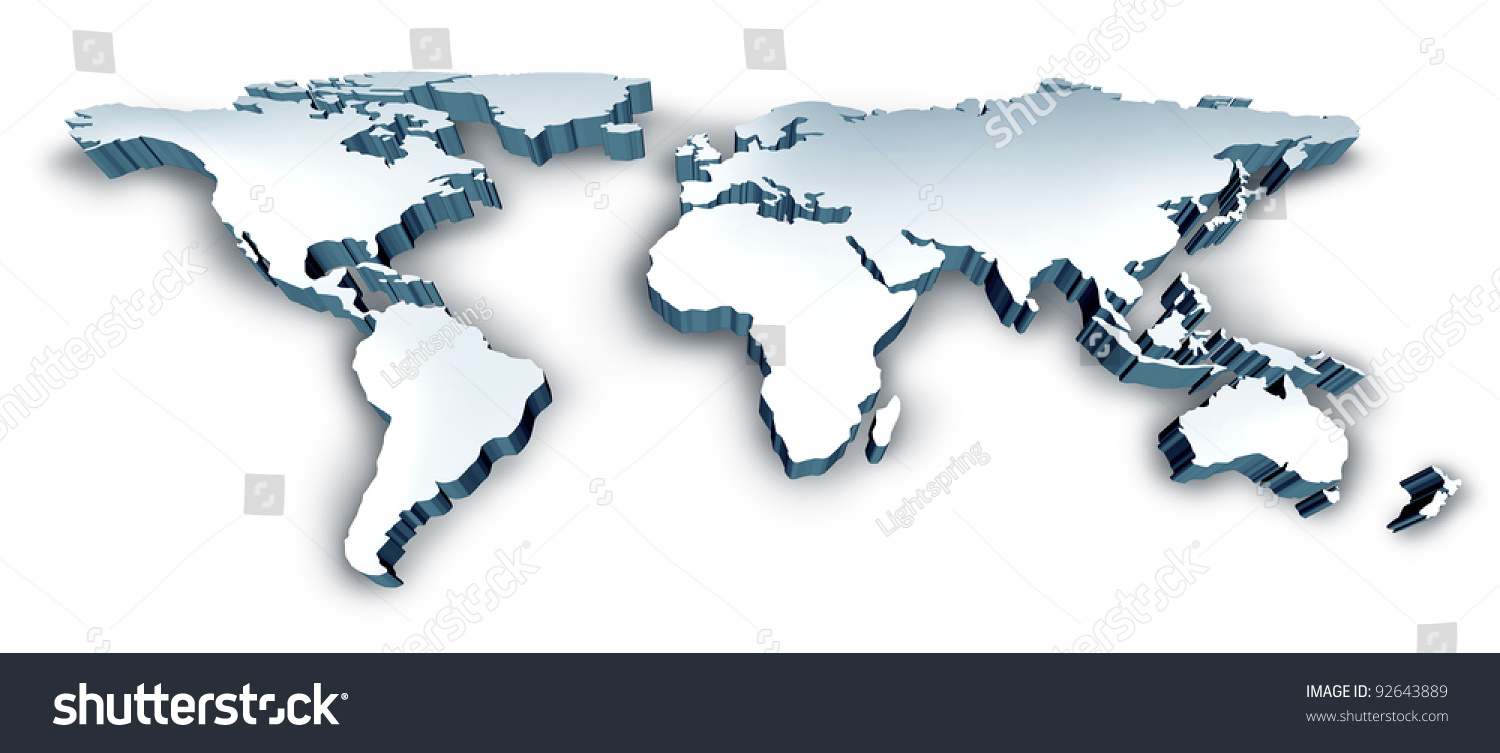 dimensional 3d wold map with usa europe africa the americas and asia as an international symbol